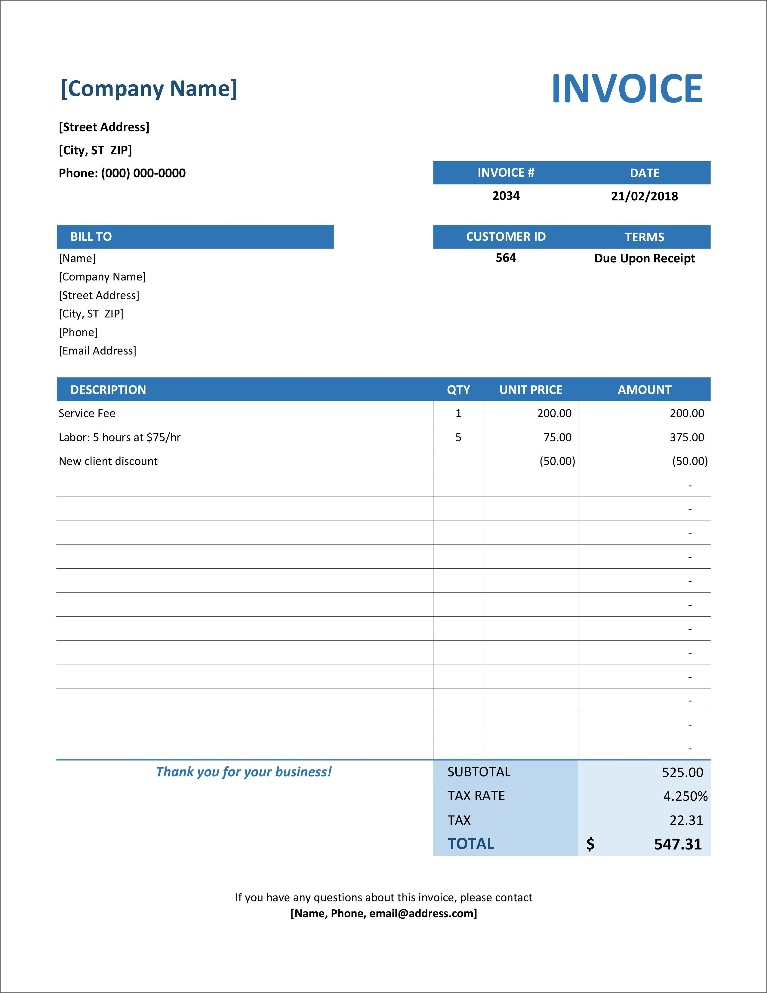 006 Excellent Invoice Excel Example Download Full