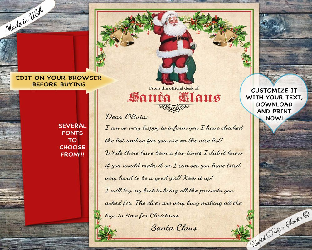 006 Excellent Letter From Santa Template Example  Free Printable Word Doc UkFull