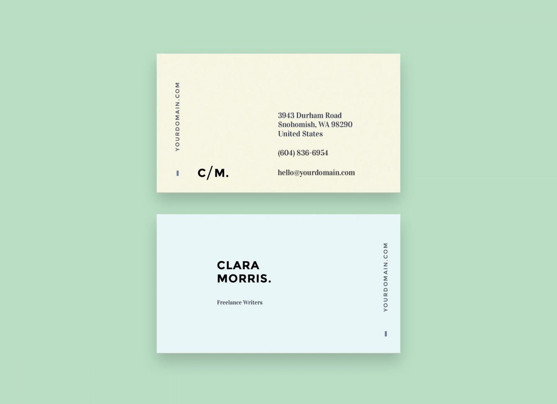 006 Excellent Minimalist Busines Card Template Free Sample  Minimal Psd1920
