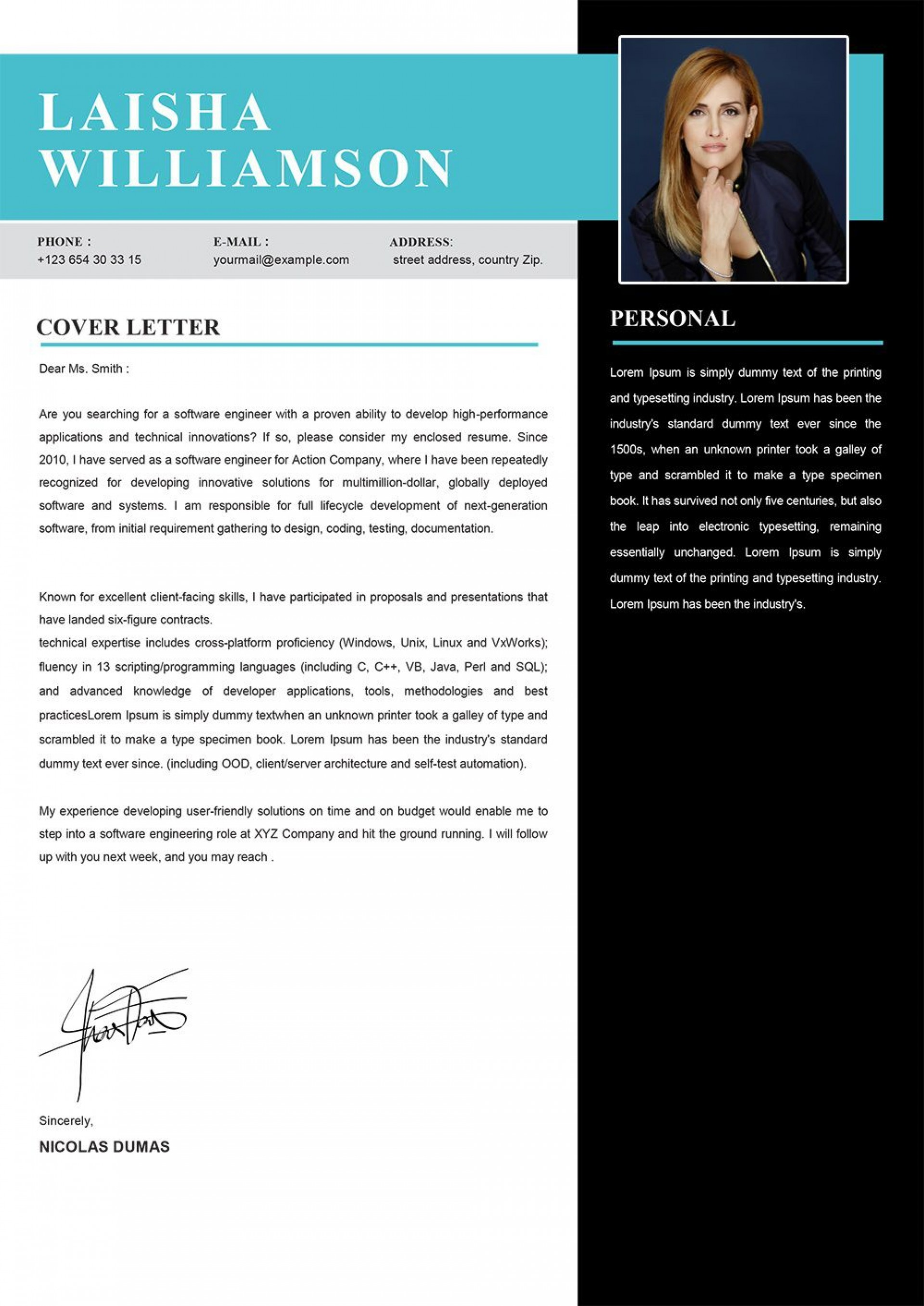 006 Excellent Modern Cover Letter Example  2019 Sample1920