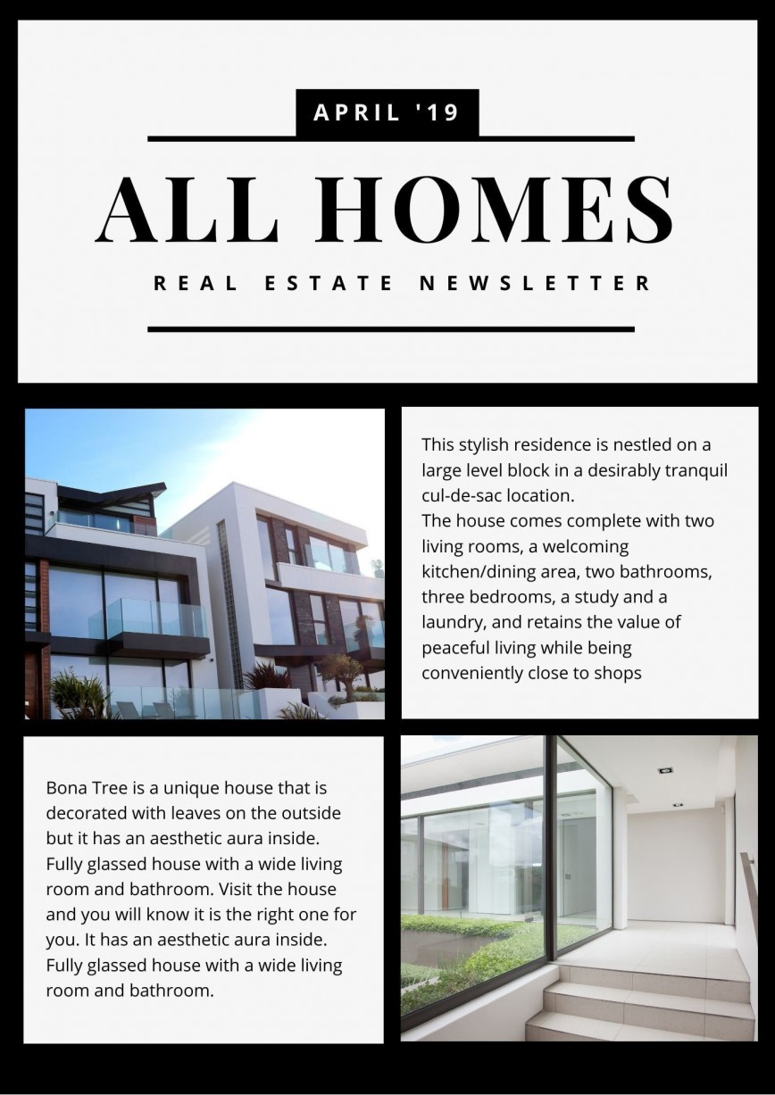 006 Excellent Real Estate Newsletter Template Example  Templates Free Realtor