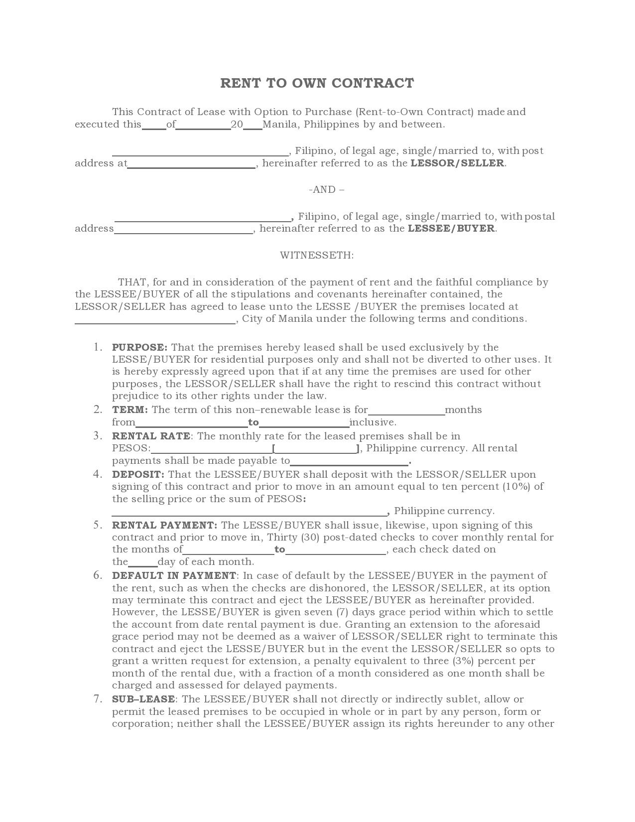 006 Excellent Rent To Own Contract Template Philippine Image  Philippines SampleFull