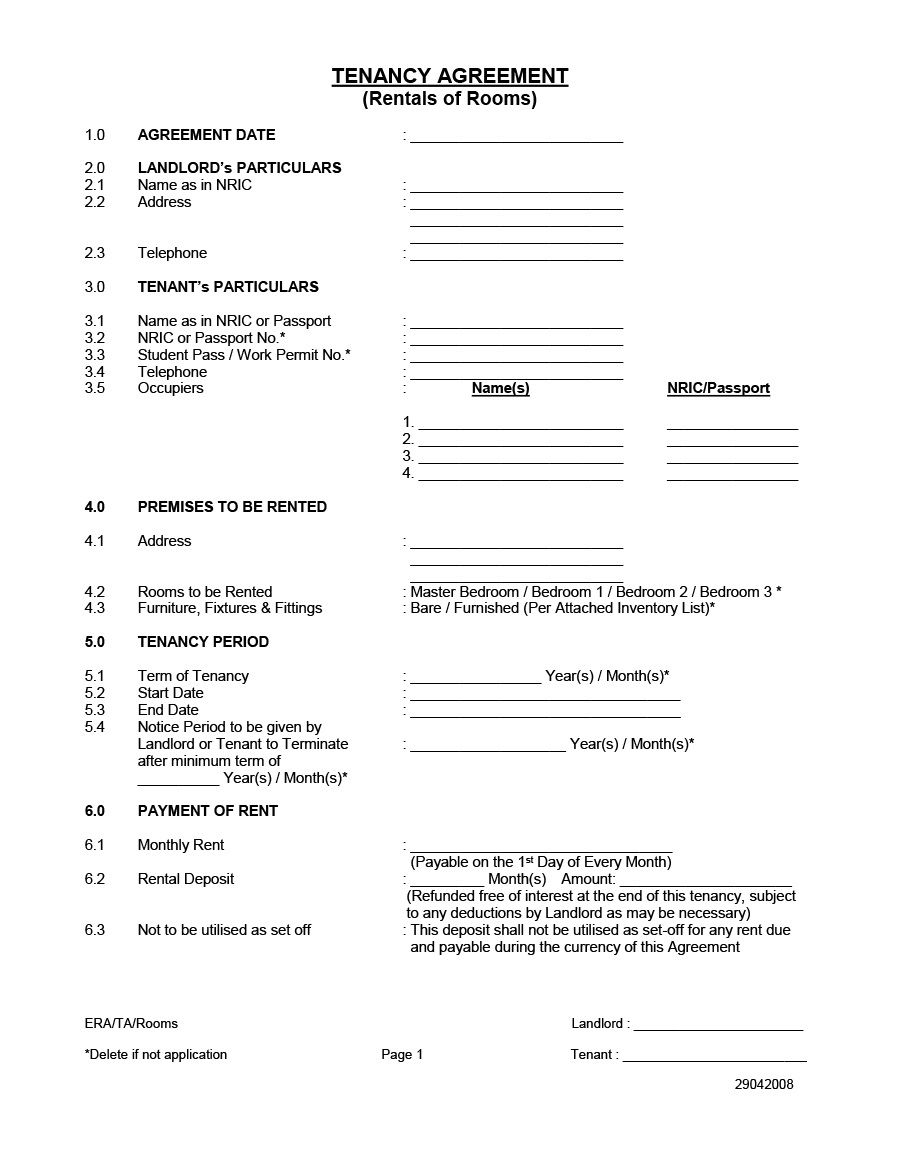 006 Excellent Room Rental Agreement Template Word Doc Malaysia Photo Full