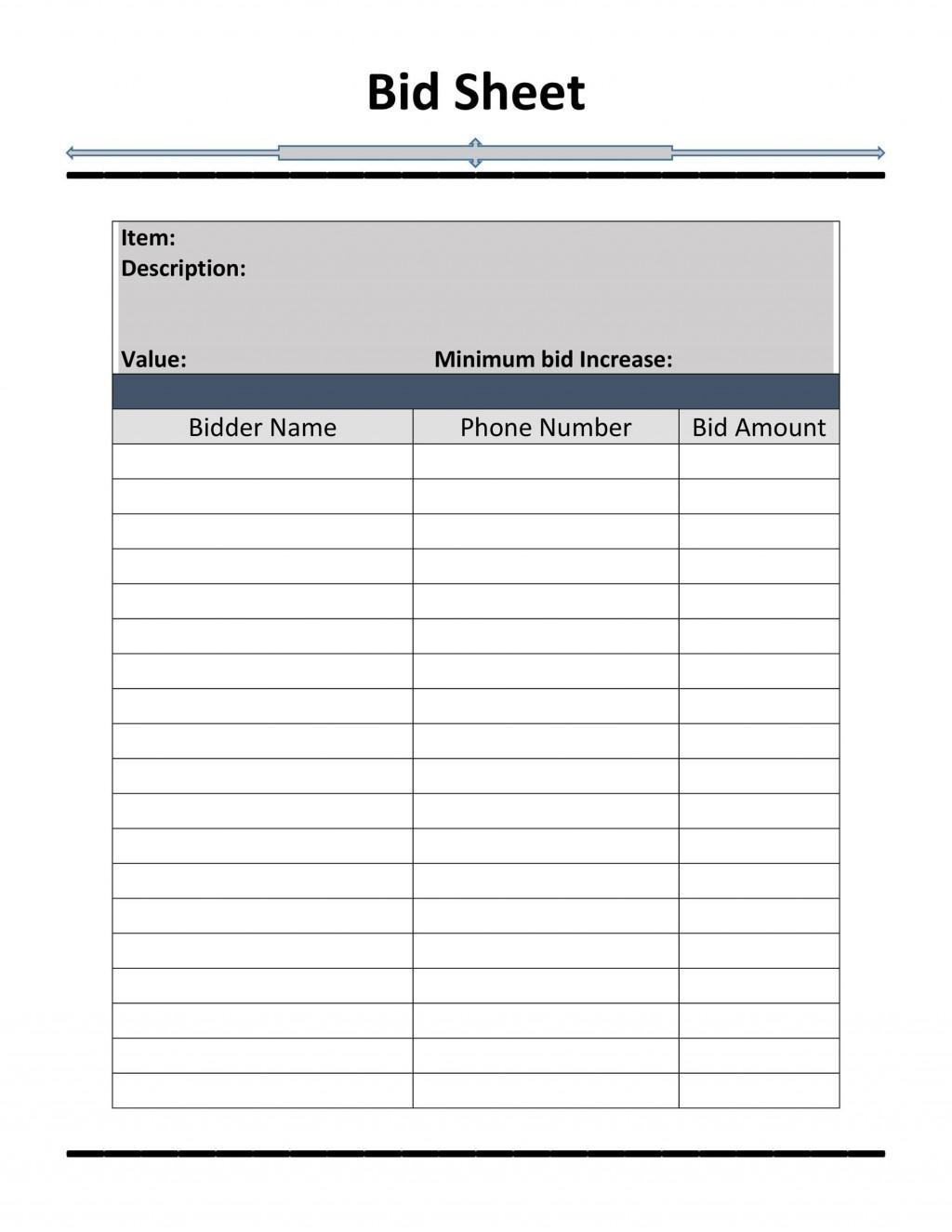 006 Excellent Sample Silent Auction Bid Sheet Free Highest Clarity  Printable Template DownloadLarge