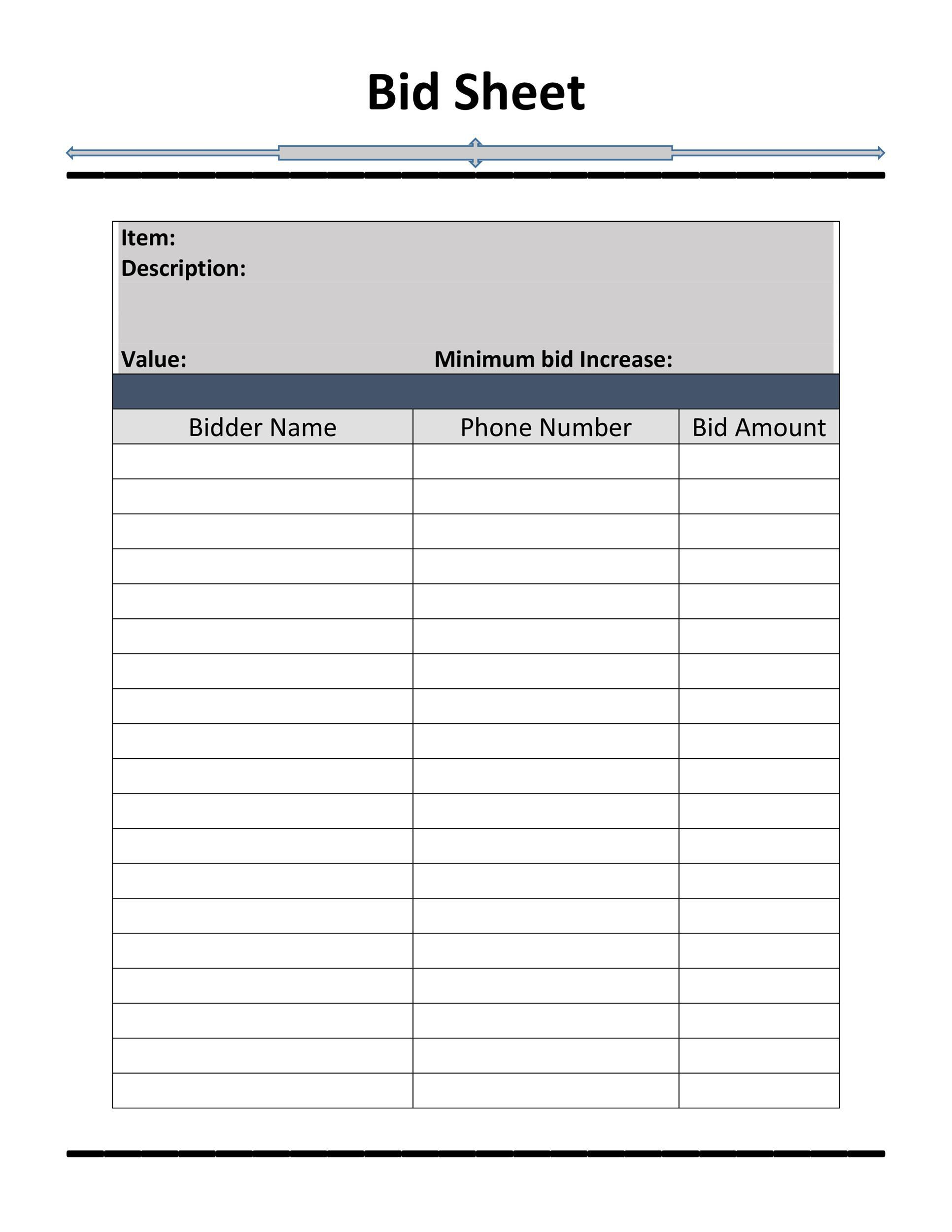 006 Excellent Sample Silent Auction Bid Sheet Free Highest Clarity  Printable Template DownloadFull