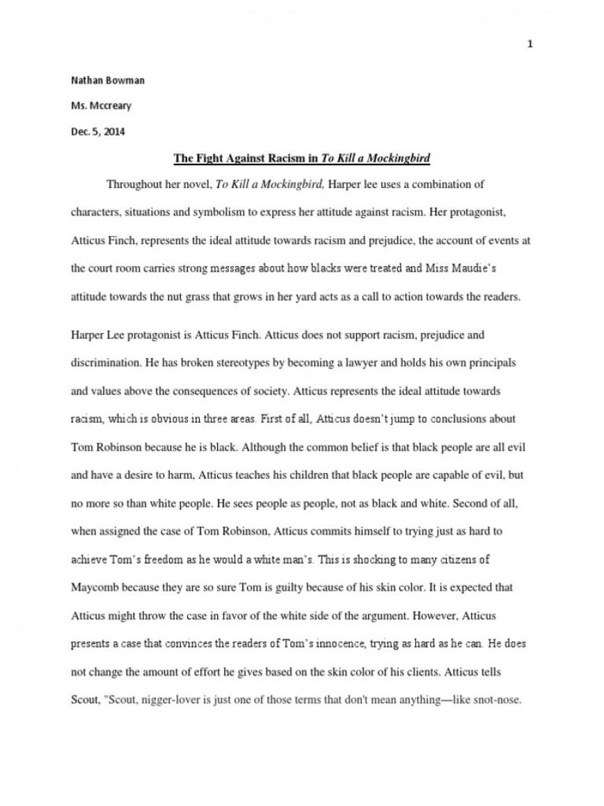 006 Excellent To Kill A Mockingbird Essay High Def  Prejudice Thesi Topic