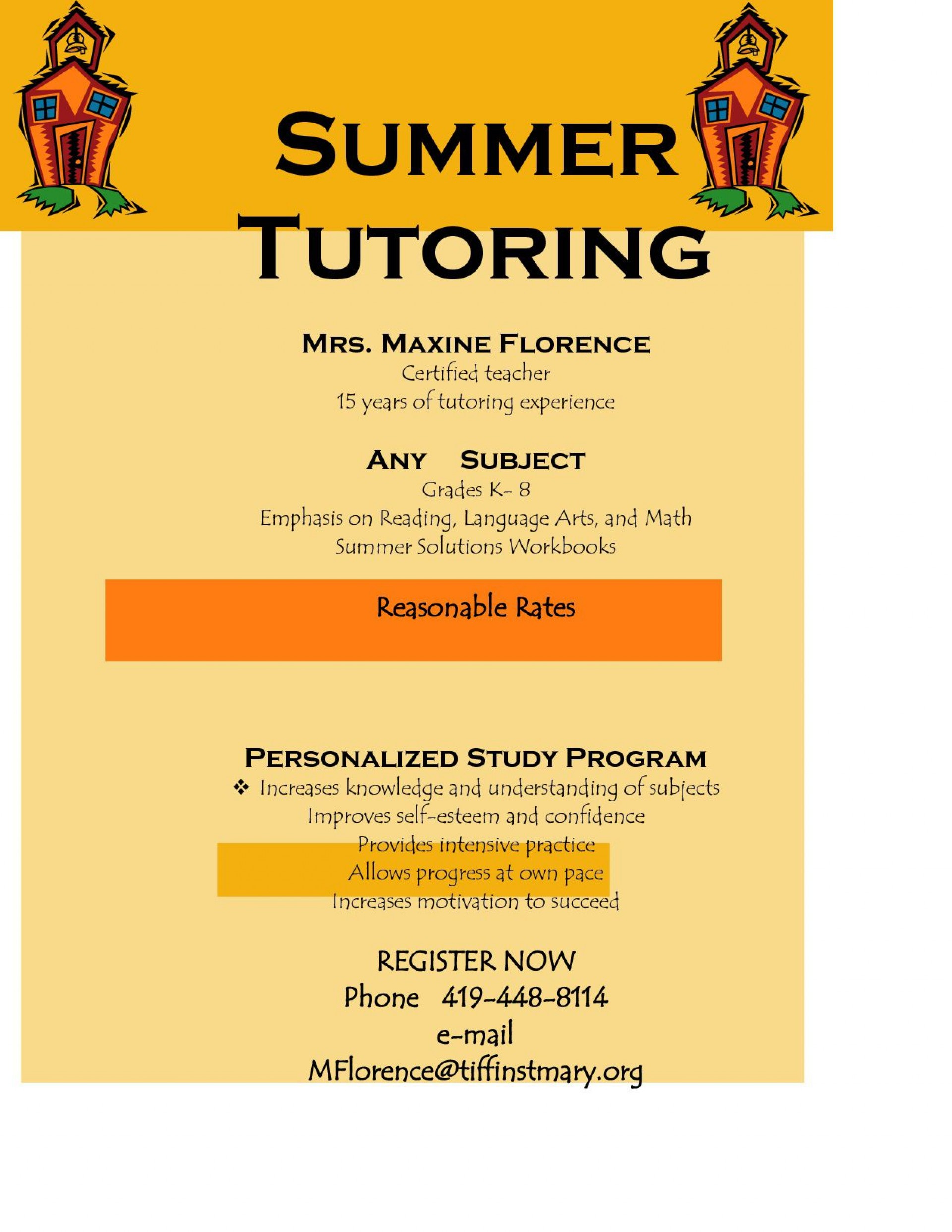 006 Excellent Tutoring Flyer Template Free Image  Word1920