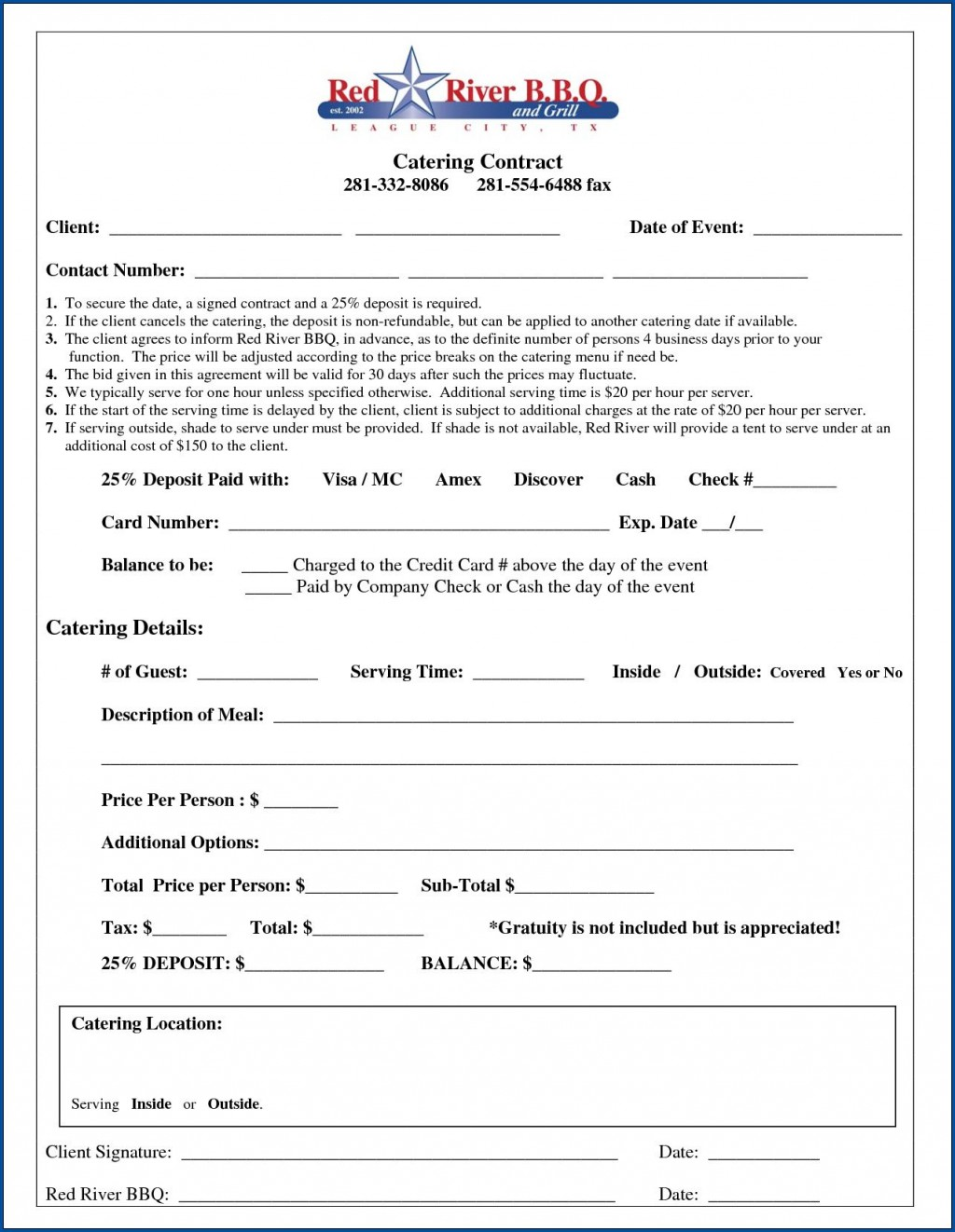 006 Exceptional Catering Contract Template Free Example  Service SampleLarge