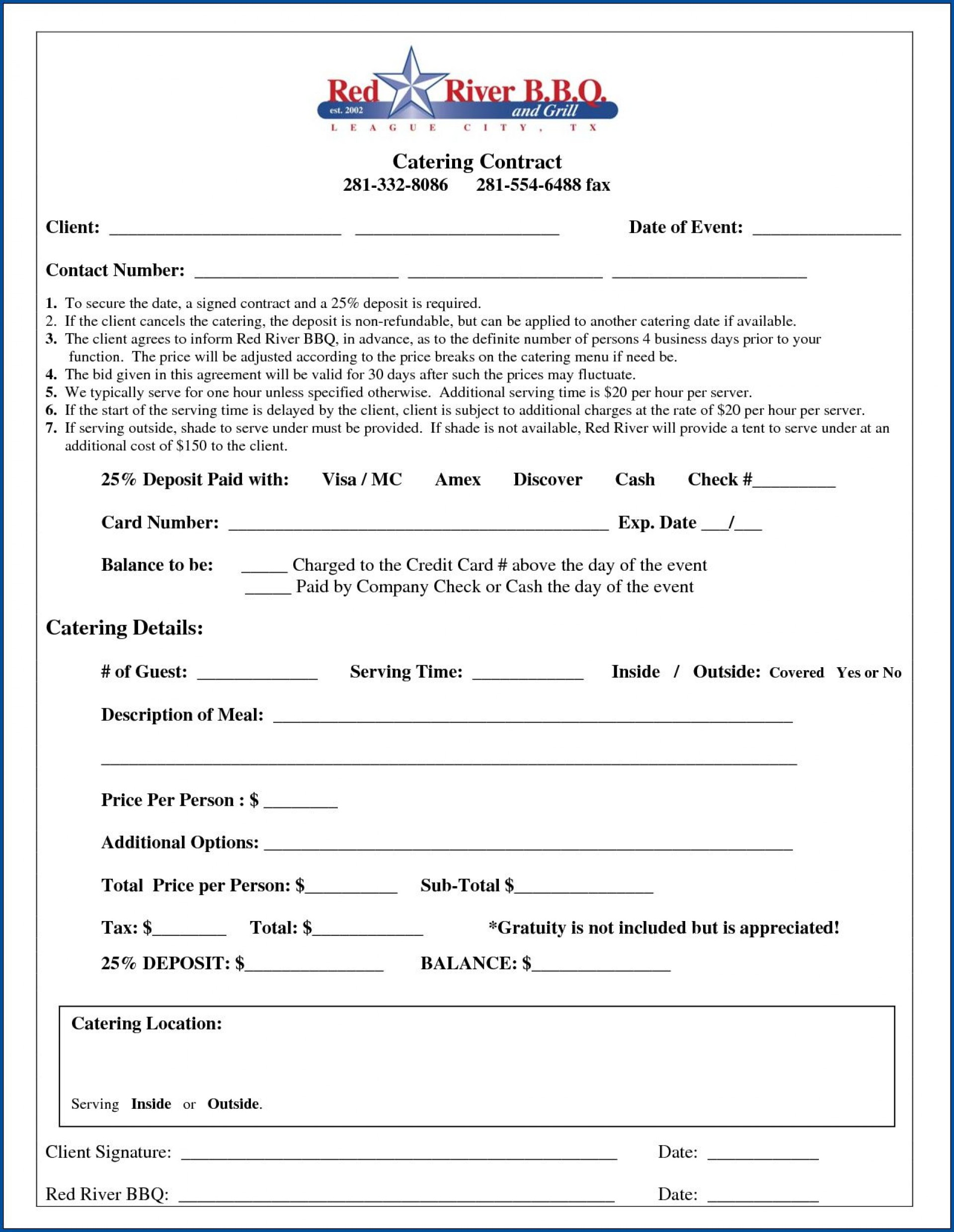 006 Exceptional Catering Contract Template Free Example  Word Sample Printable1920