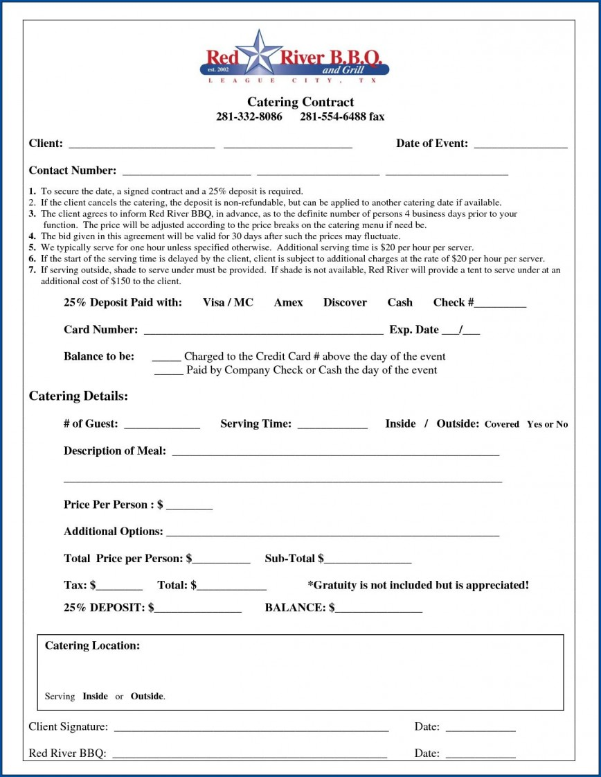 006 Exceptional Catering Contract Template Free Example  Printable Word Sample