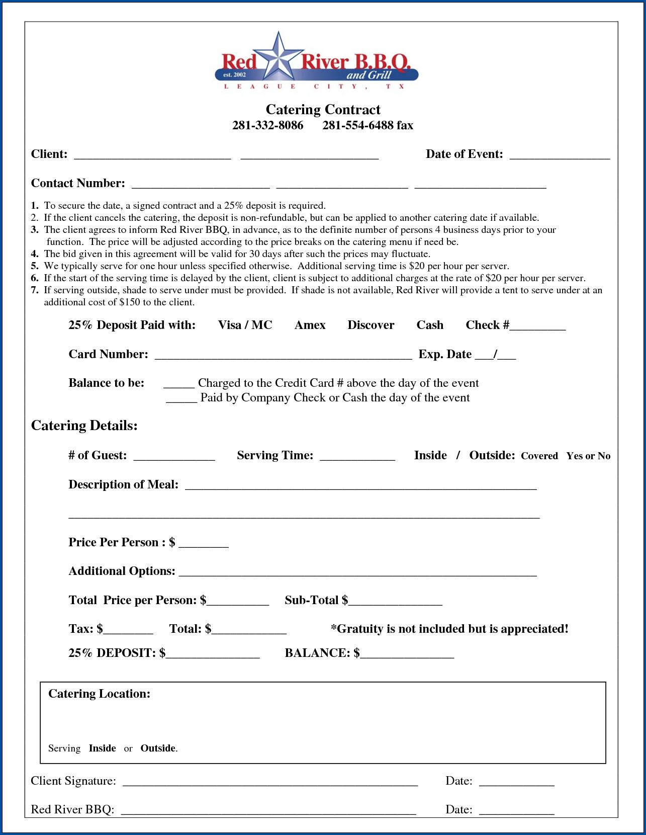 006 Exceptional Catering Contract Template Free Example  Service SampleFull