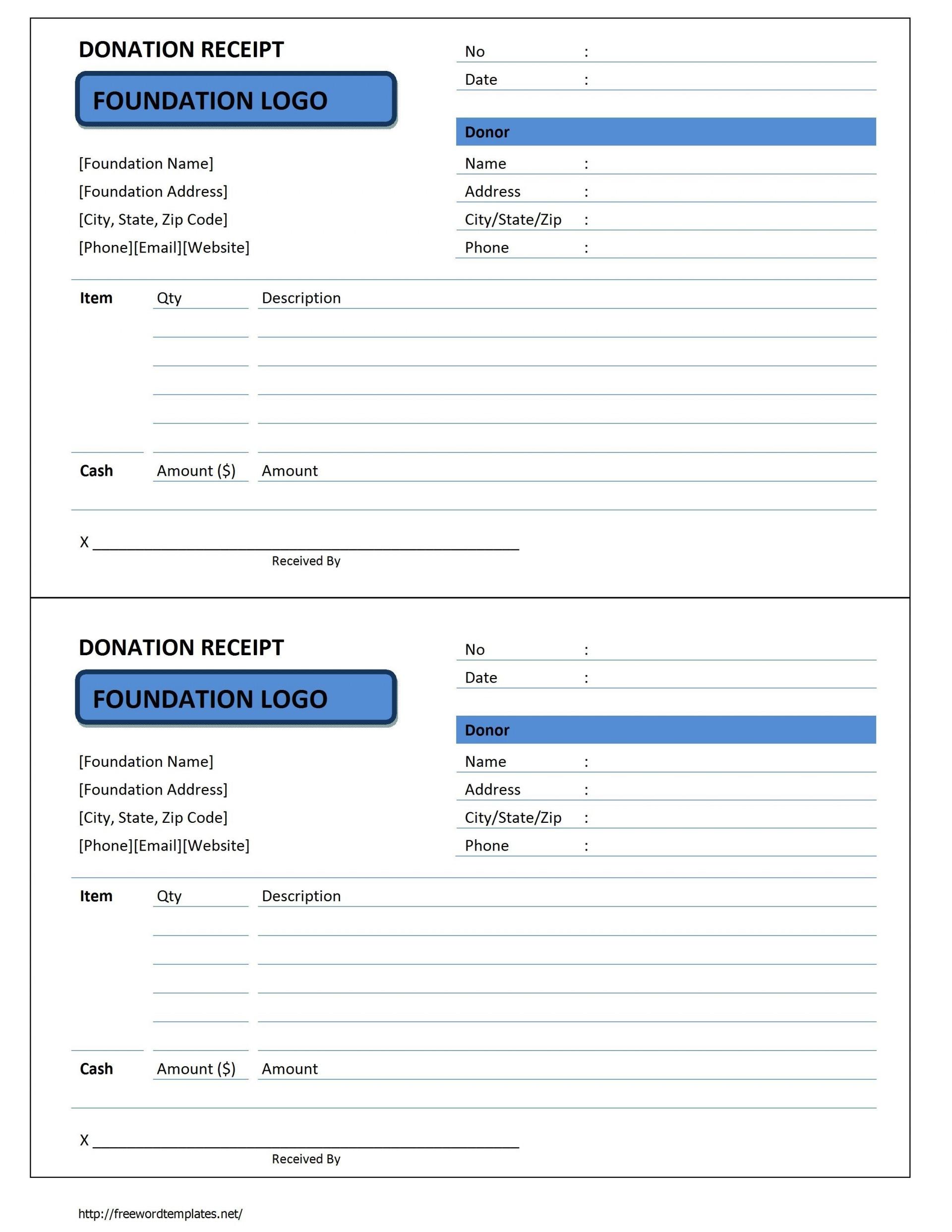 006 Exceptional Charitable Tax Receipt Template Idea  Donation1920