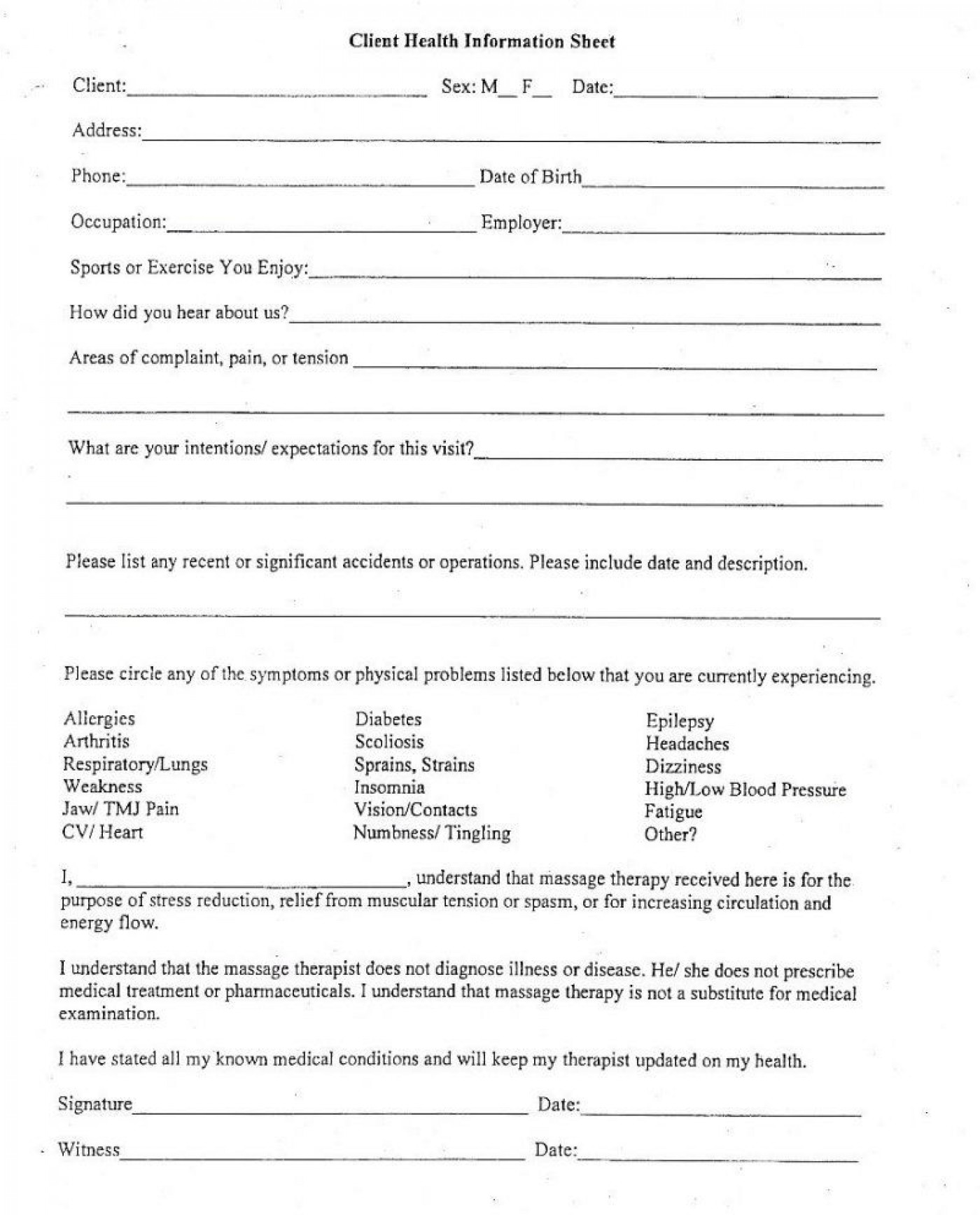 006 Exceptional Client Information Form Template Excel Inspiration 1400