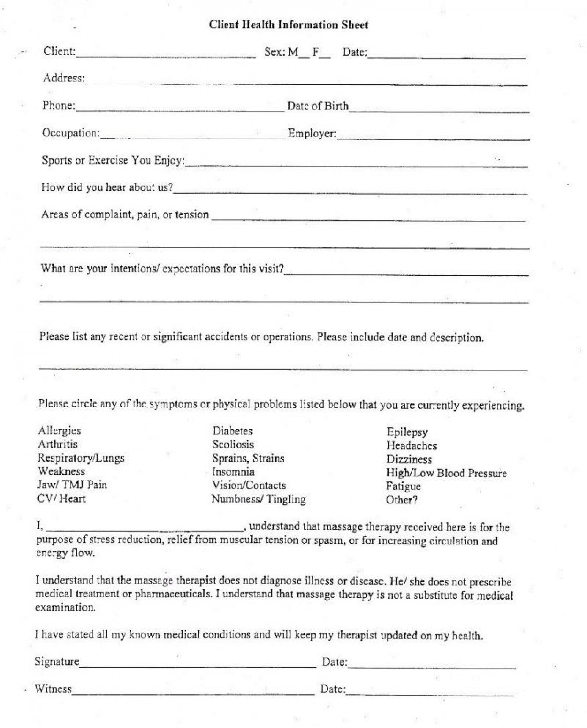 Client Information Form Template Excel Addictionary