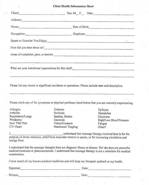 006 Exceptional Client Information Form Template Excel Inspiration 480