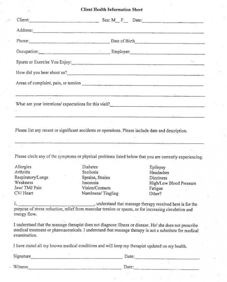 006 Exceptional Client Information Form Template Excel Inspiration 728