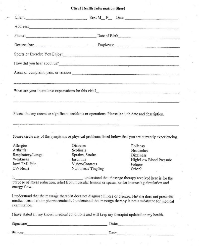 006 Exceptional Client Information Form Template Excel Inspiration