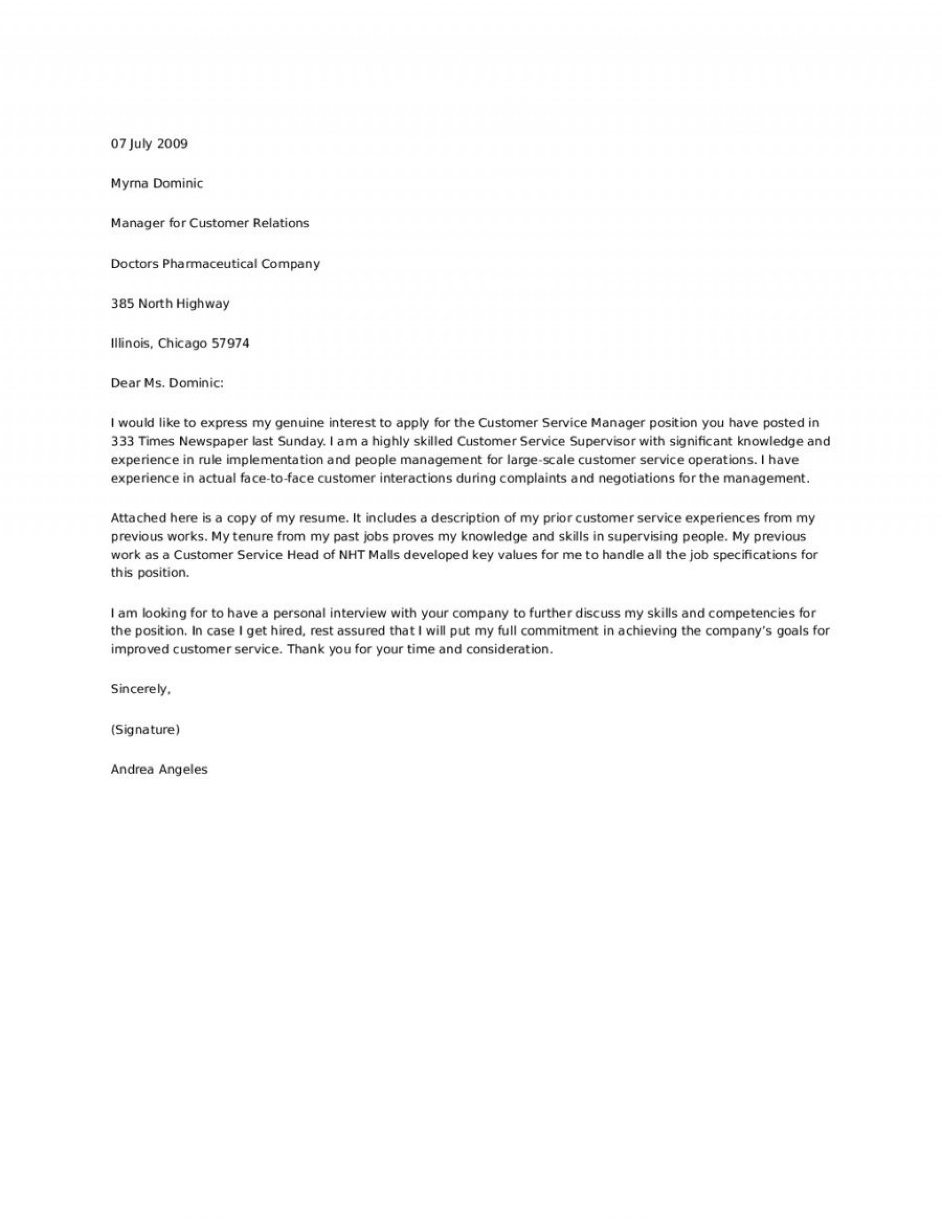 Cover Letter Example For Customer Service from www.addictionary.org