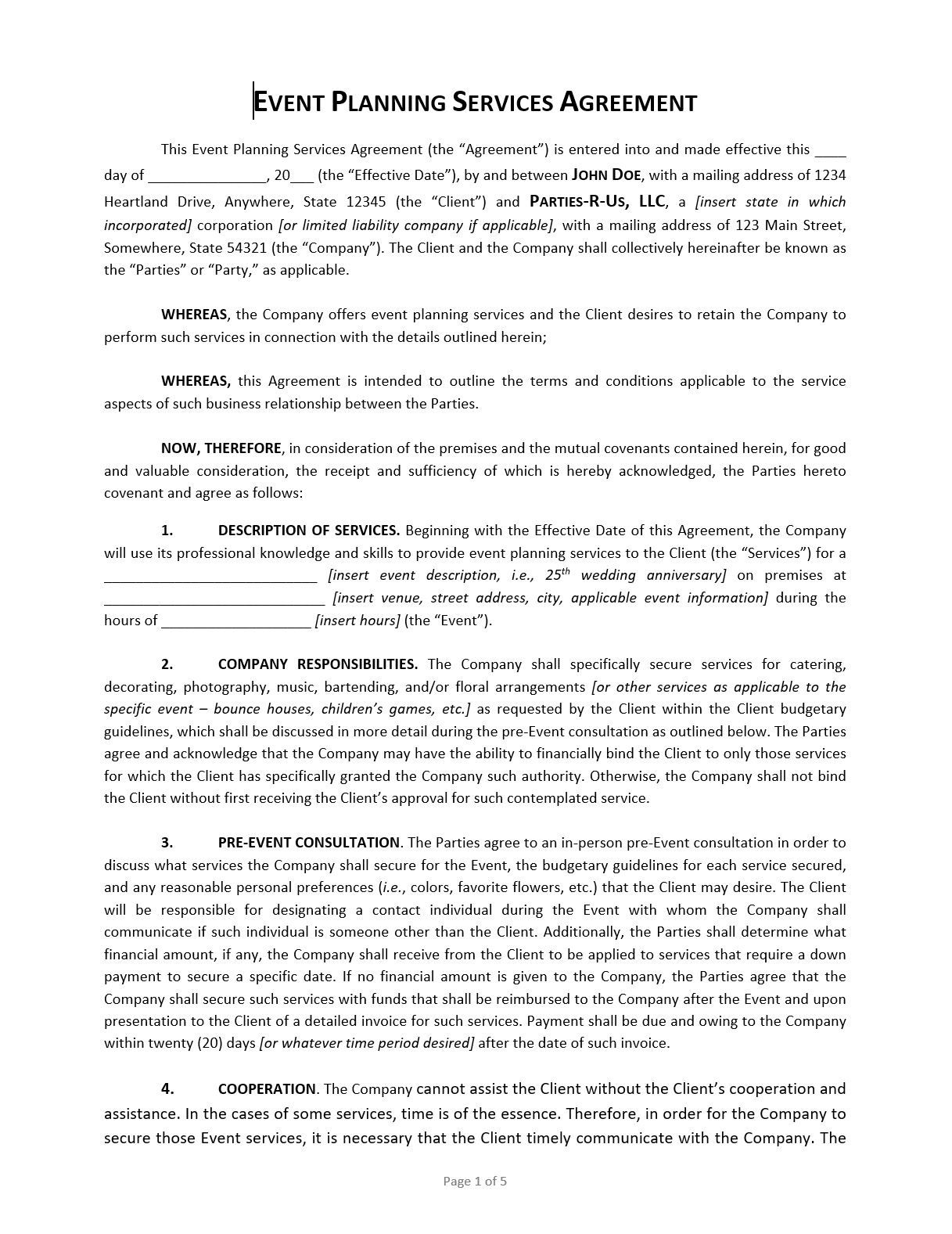 006 Exceptional Event Planner Contract Template Design  Free Download PlanningFull