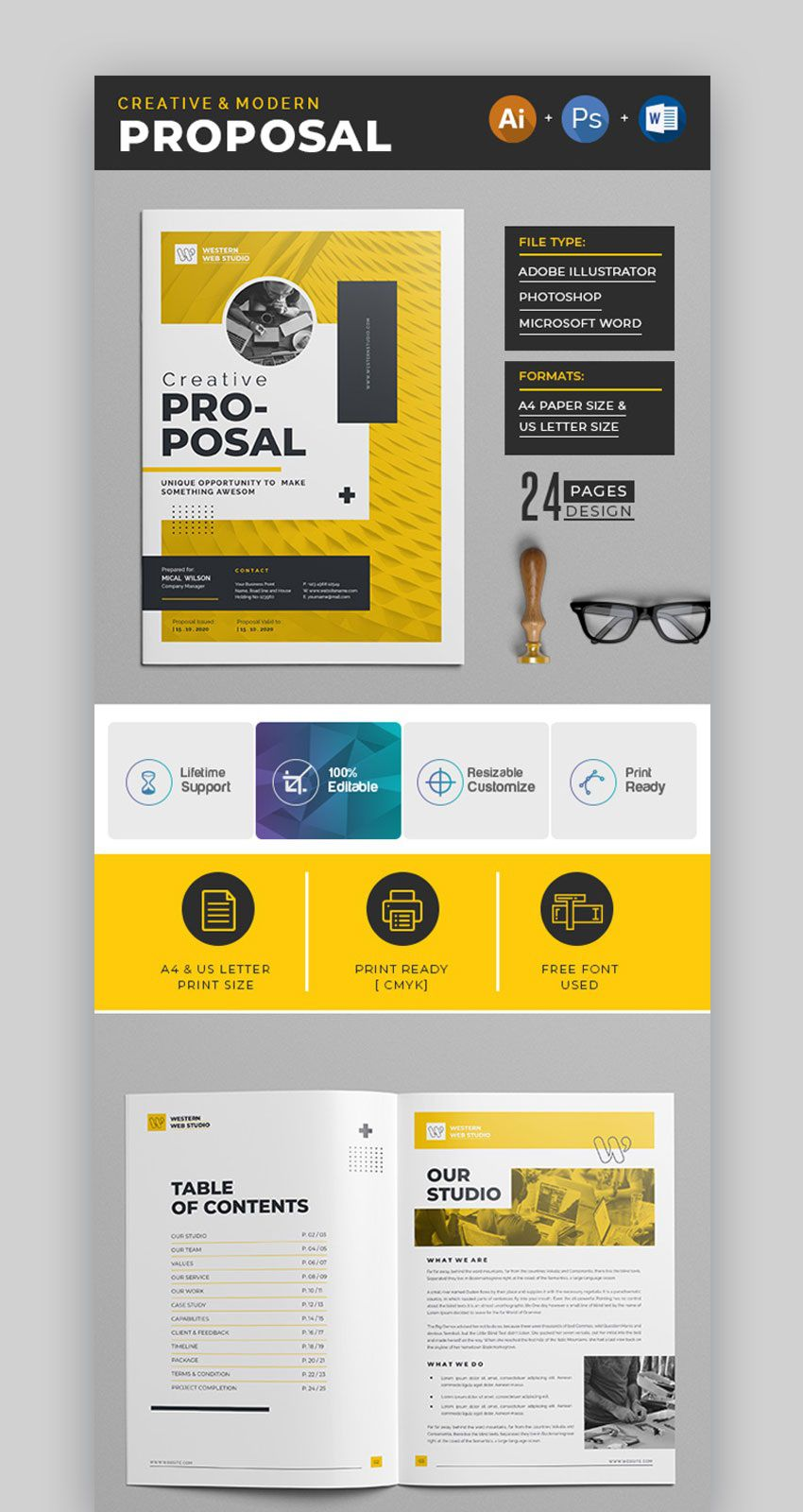006 Exceptional Graphic Design Proposal Template Word Sample Full