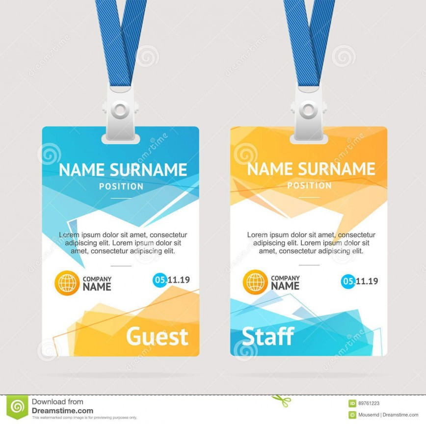 006 Exceptional Id Badge Template Free Example  Employee Download Teacher