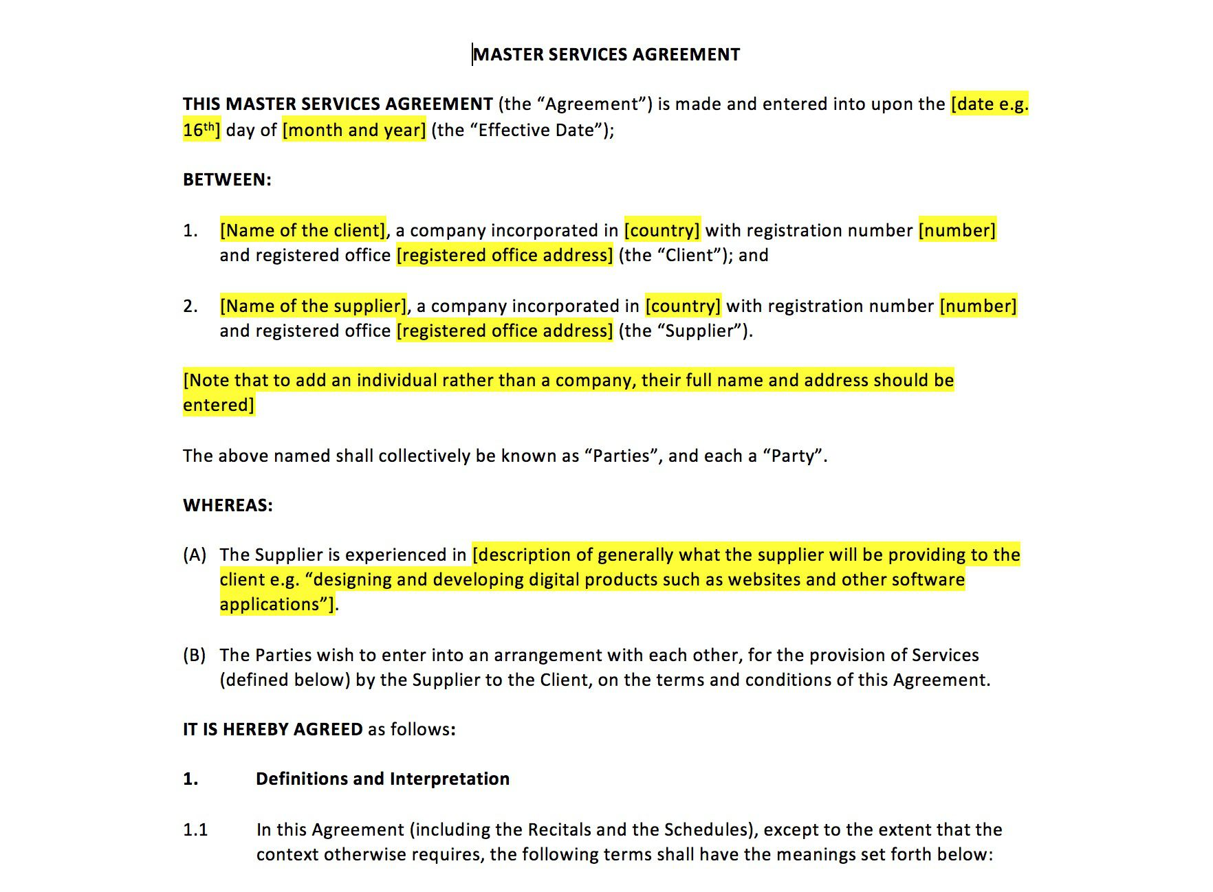 006 Exceptional Master Service Agreement Template Picture  Free AustraliaFull