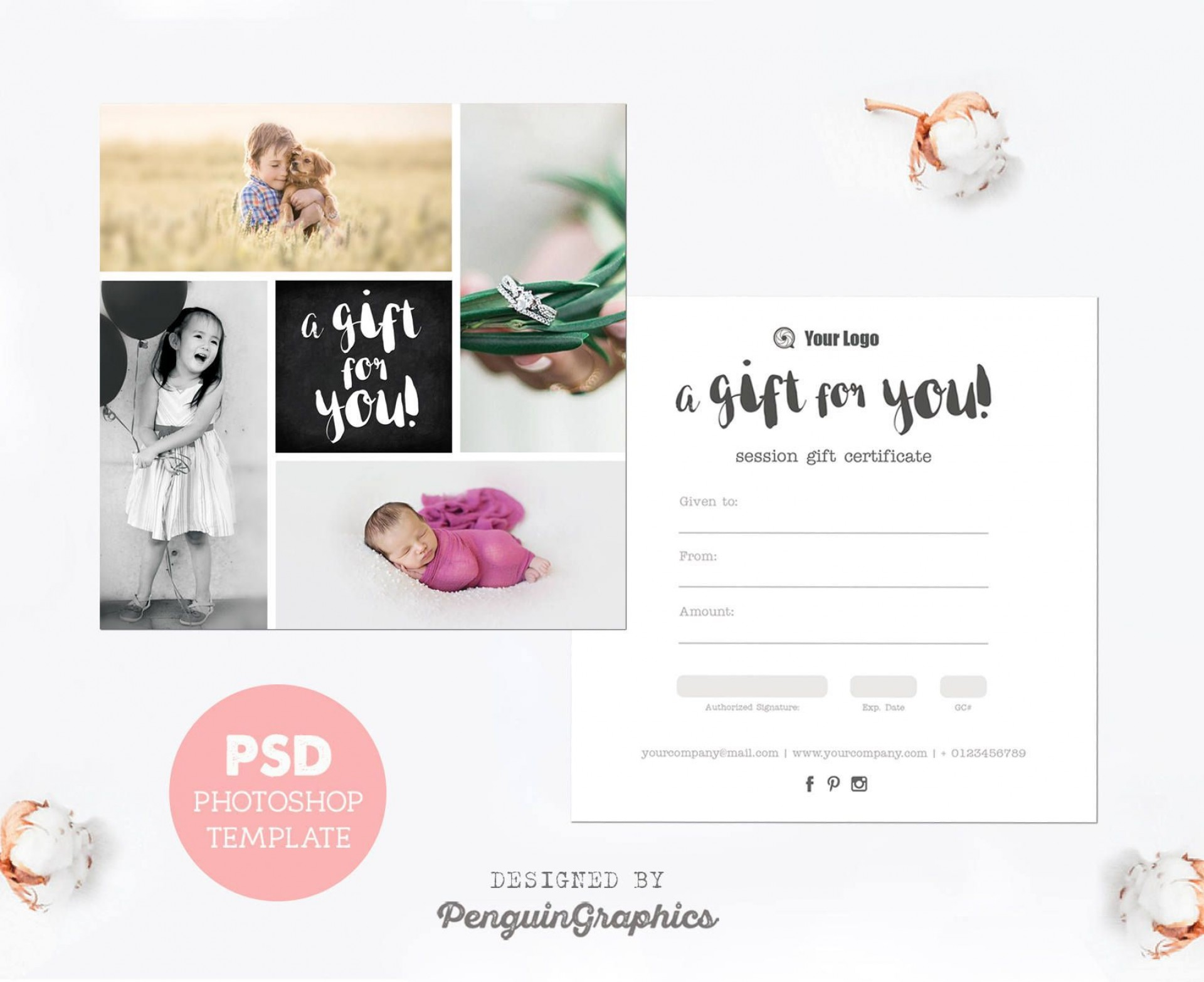 006 Exceptional Photography Session Gift Certificate Template Design  Photo Free1920