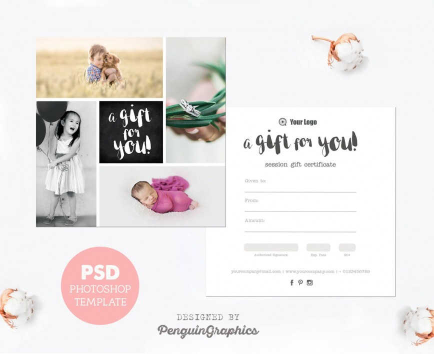 006 Exceptional Photography Session Gift Certificate Template Design  Photo Free