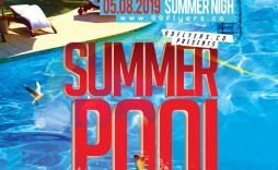 006 Exceptional Pool Party Flyer Template Free Sample  Photoshop Psd
