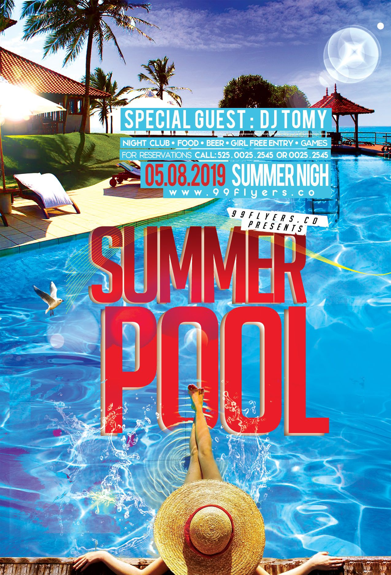 006 Exceptional Pool Party Flyer Template Free Sample  Photoshop PsdFull