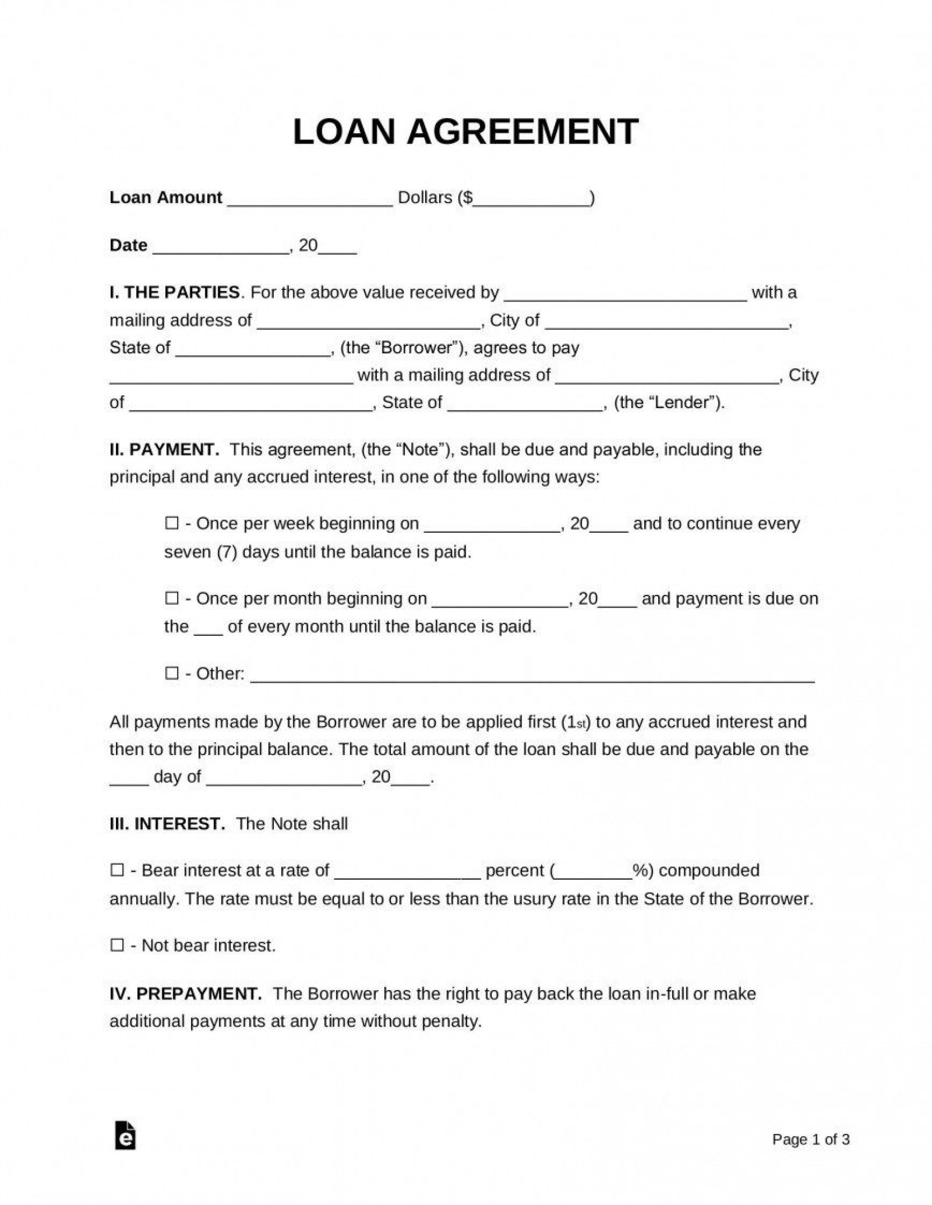 006 Exceptional Simple Family Loan Agreement Template Australia Inspiration 1920