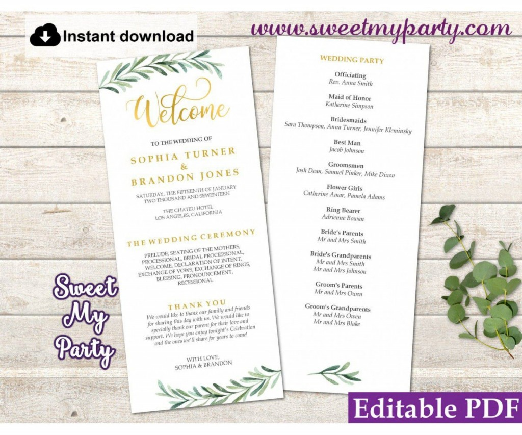 006 Exceptional Wedding Order Of Service Template Word Design  Free MicrosoftLarge