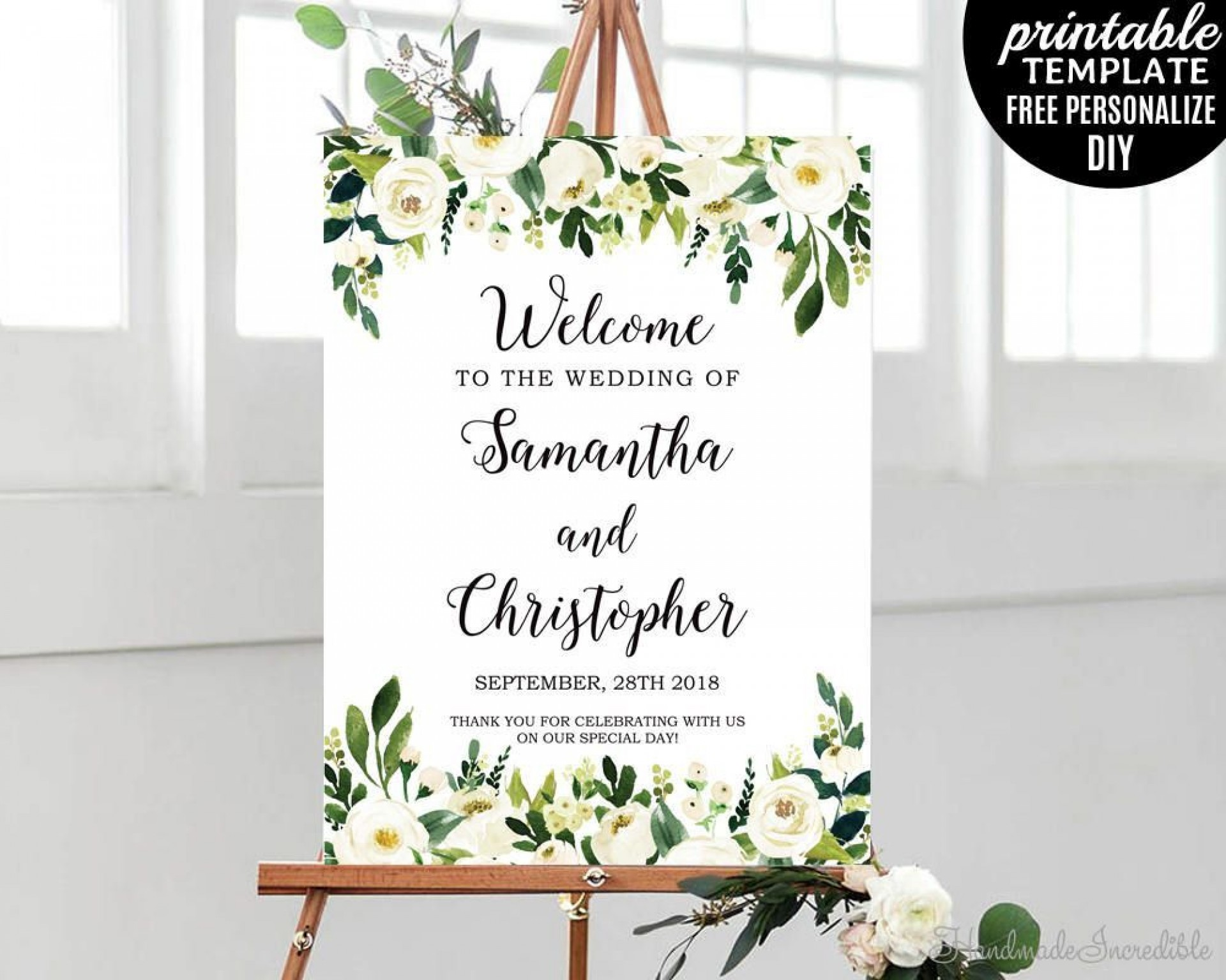 006 Exceptional Wedding Welcome Sign Template Free Inspiration 1920