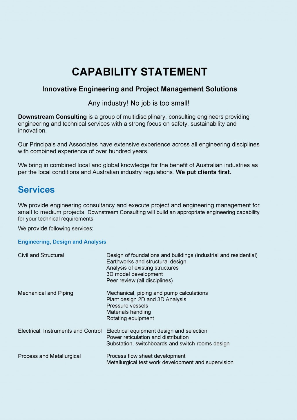 006 Fantastic Capability Statement Template Word Doc Highest Clarity  Document FreeLarge
