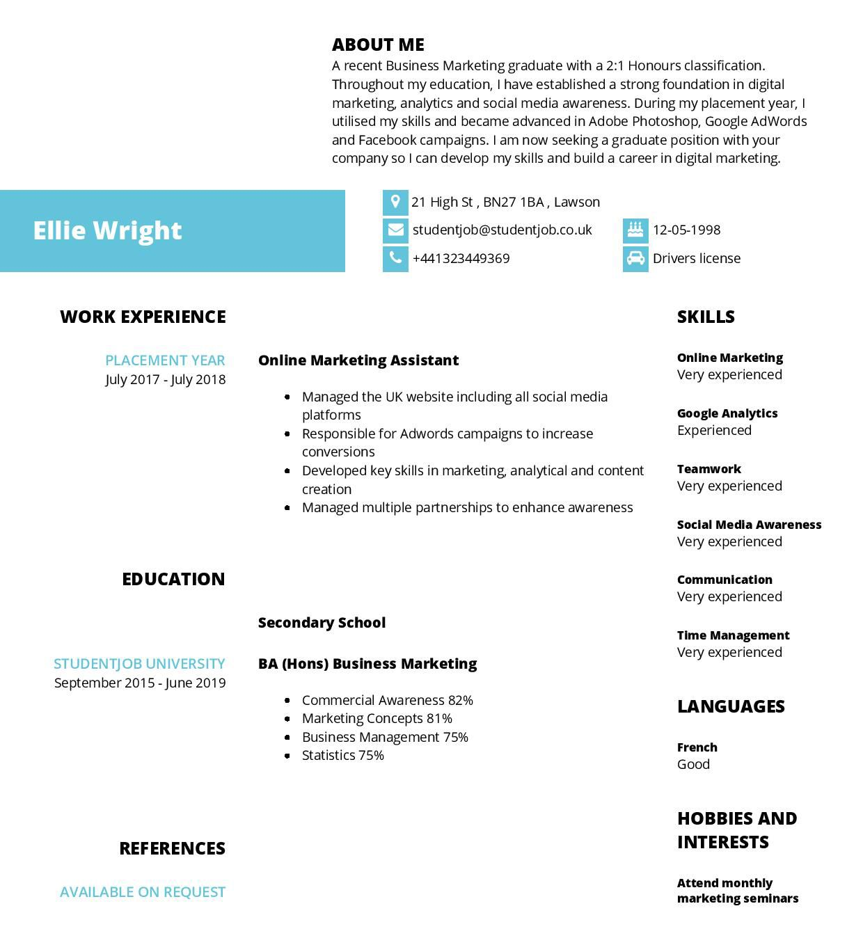 006 Fantastic Curriculum Vitae Template Student Concept  Sample College Undergraduate Example For Research PaperFull