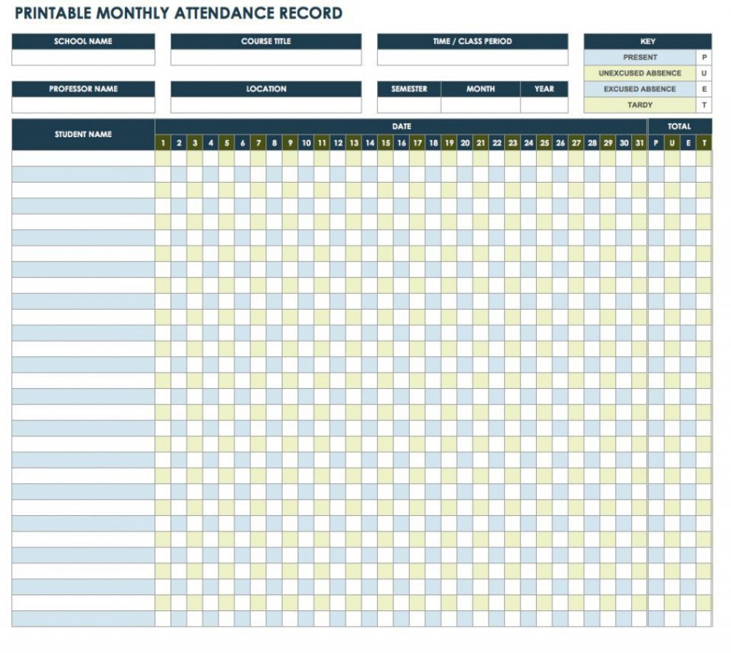 006 Fantastic Employee Attendance Record Template Excel Picture  Free Download With TimeLarge