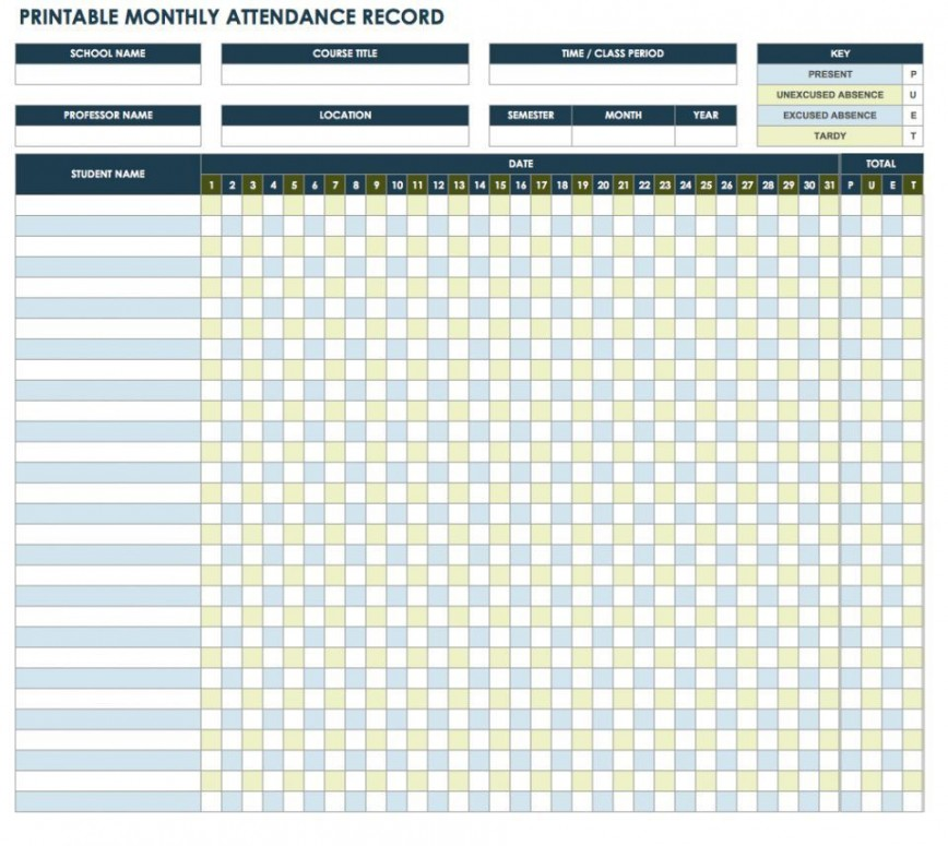 006 Fantastic Employee Attendance Record Template Excel Picture  Free Download Daily