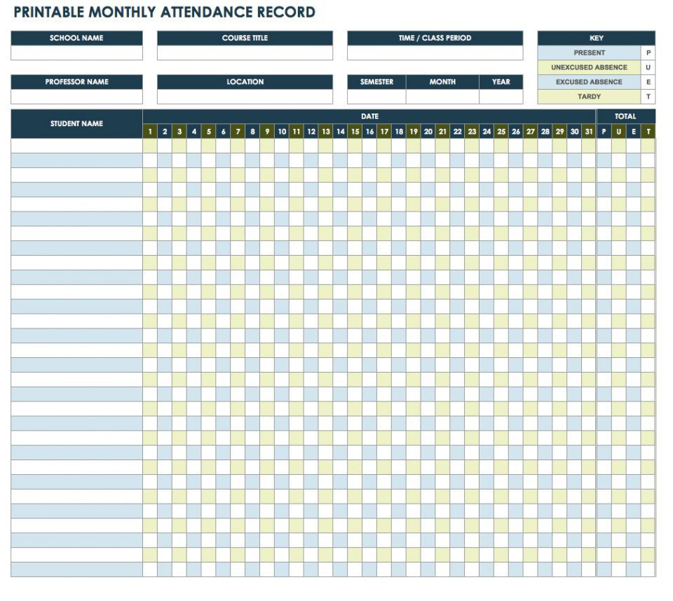 006 Fantastic Employee Attendance Record Template Excel Picture  Free Download With TimeFull