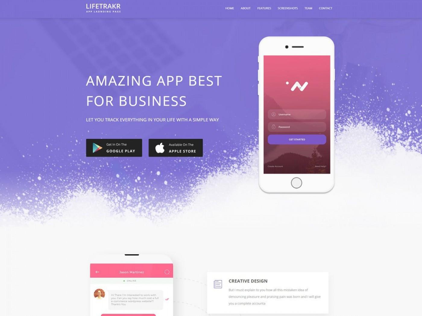 006 Fantastic Lifetracker Free Responsive Bootstrap App Landing Page Template Idea 1400
