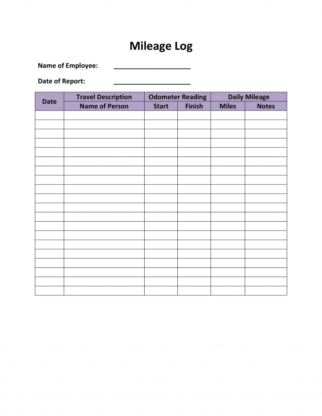 006 Fantastic Mileage Log Printable Template High Resolution  Book ExcelLarge