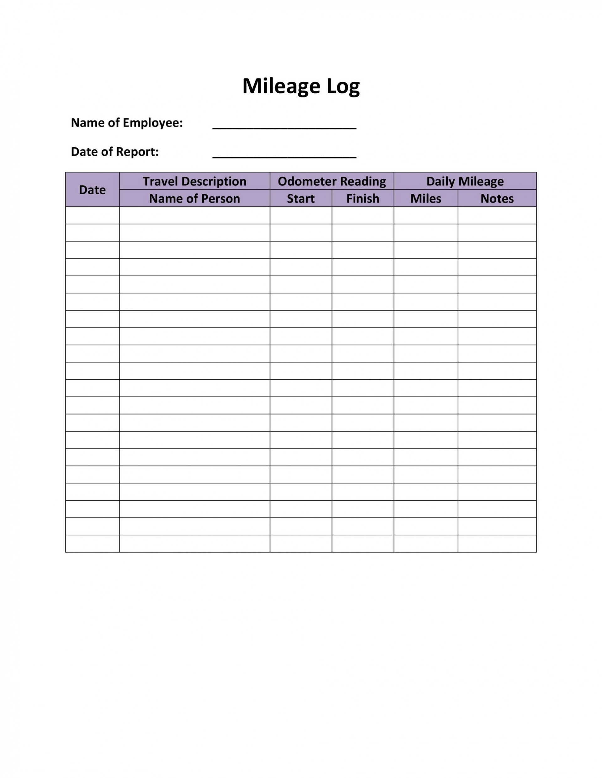 006 Fantastic Mileage Log Printable Template High Resolution  Book Excel1920