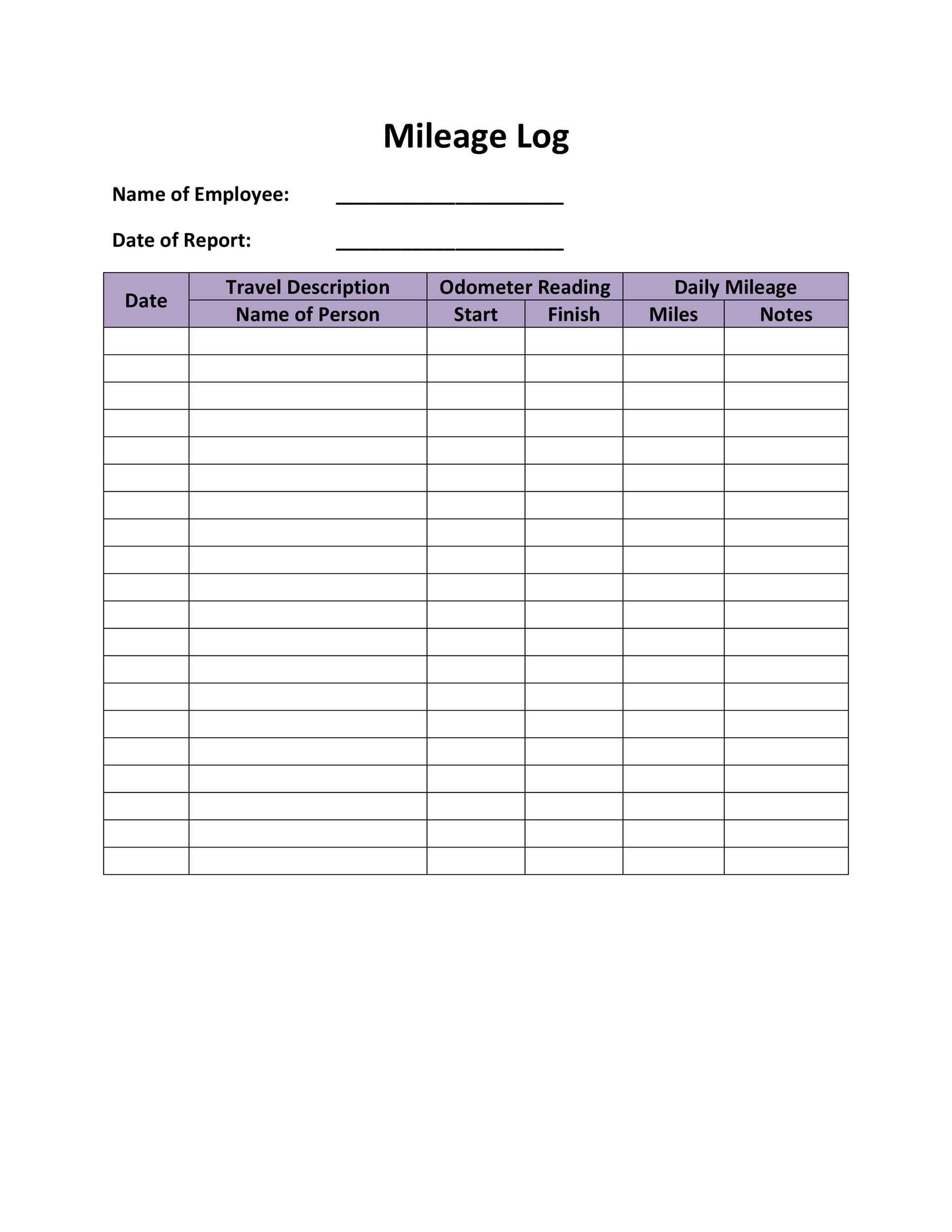 006 Fantastic Mileage Log Printable Template High Resolution  Book ExcelFull