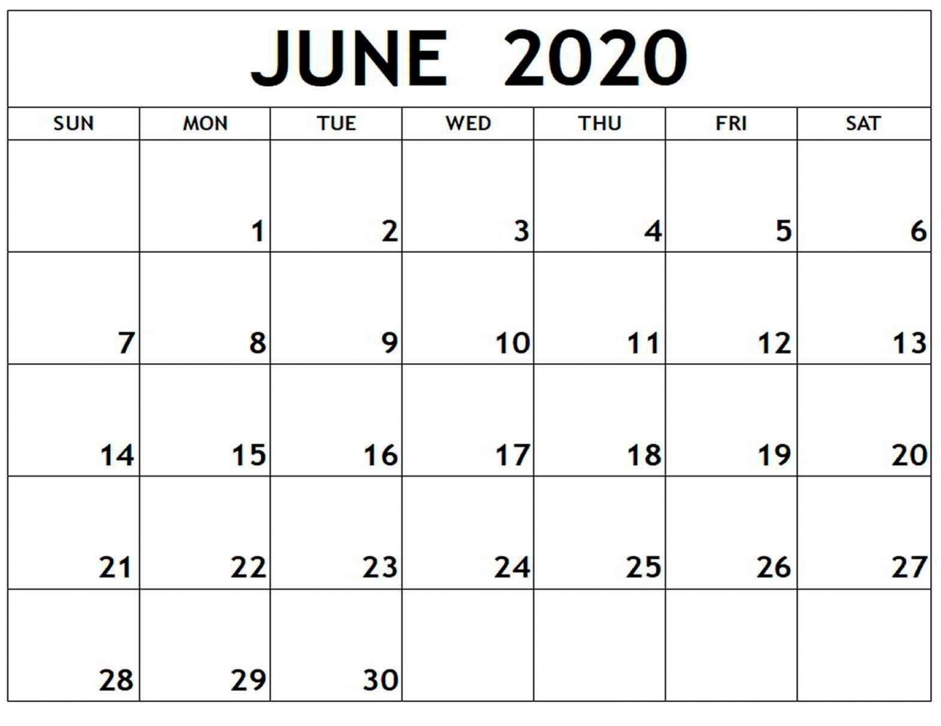 006 Fantastic Printable Calendar Template June 2020 Highest Quality  Free1920