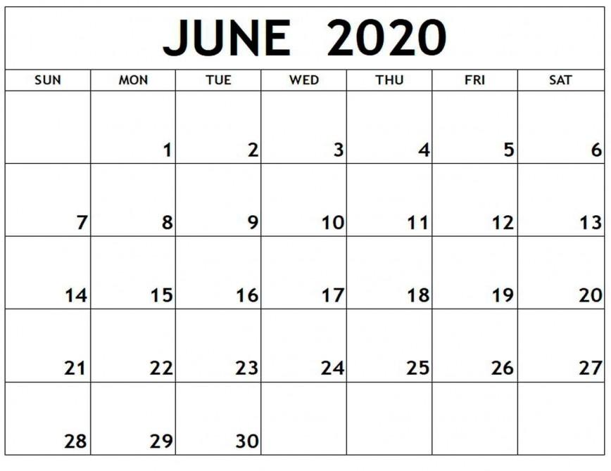 006 Fantastic Printable Calendar Template June 2020 Highest Quality  Editable Free