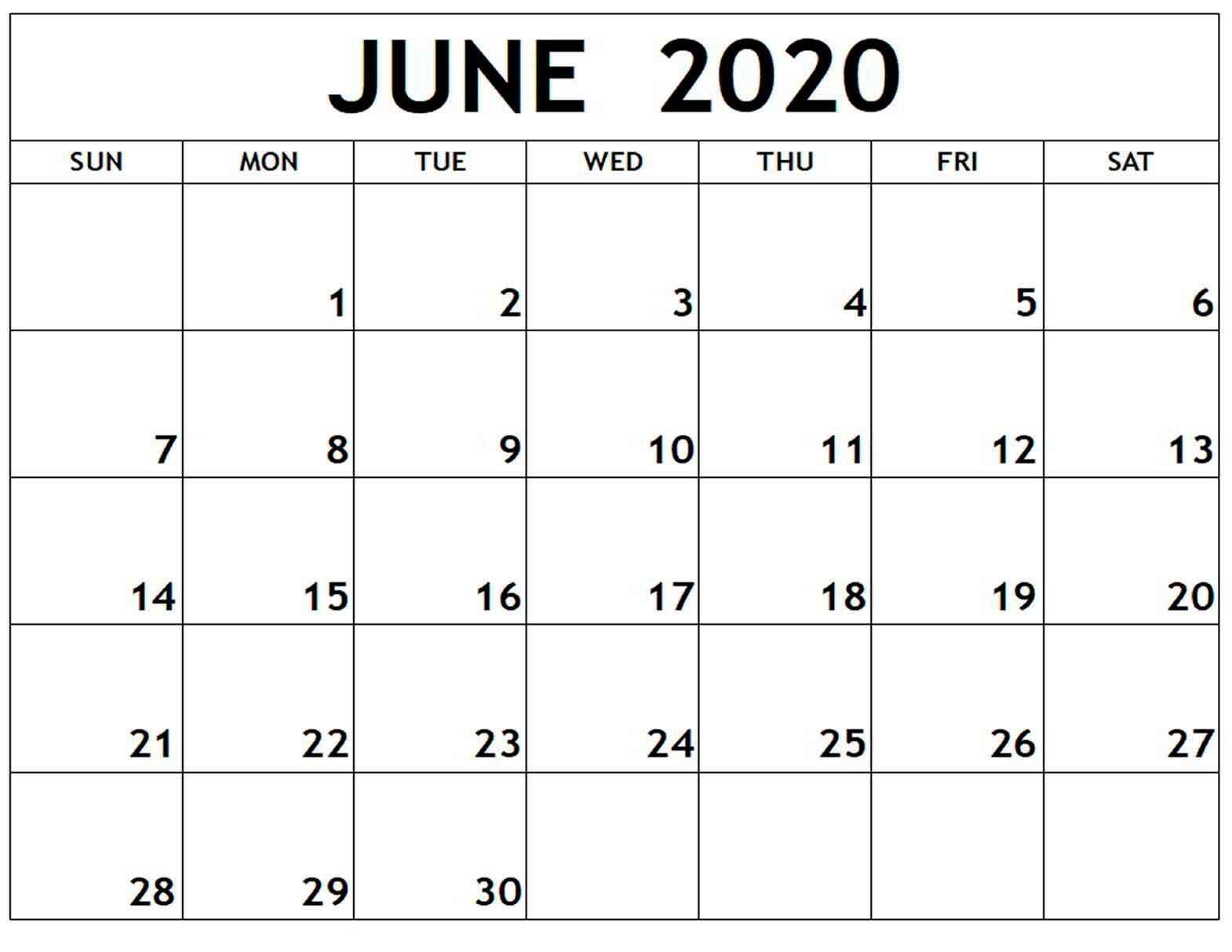 006 Fantastic Printable Calendar Template June 2020 Highest Quality  FreeFull