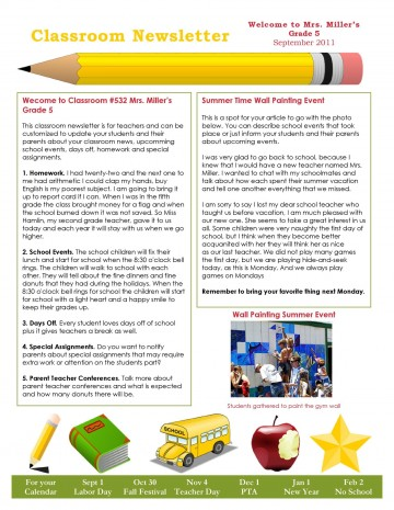 006 Fantastic School Newsletter Template Free High Def  Word Download Counselor360