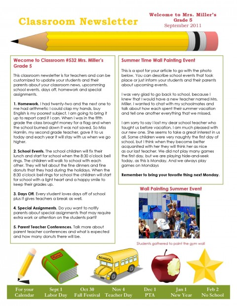 006 Fantastic School Newsletter Template Free High Def  Word Download Counselor480