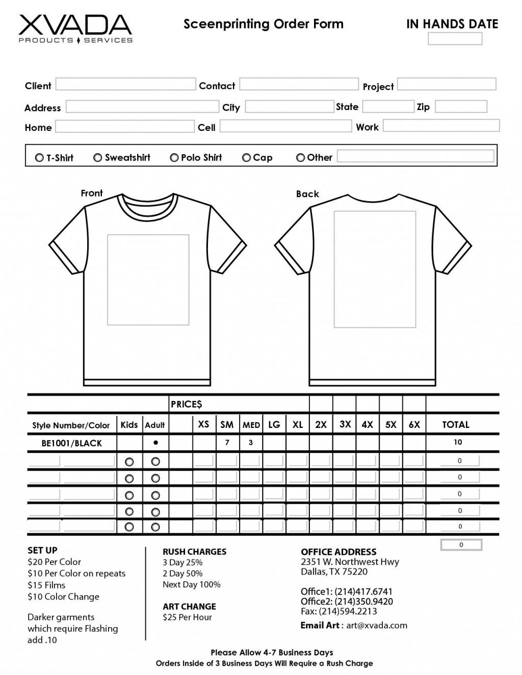 006 Fantastic Shirt Order Form Template High Definition  Tee T Microsoft WordLarge