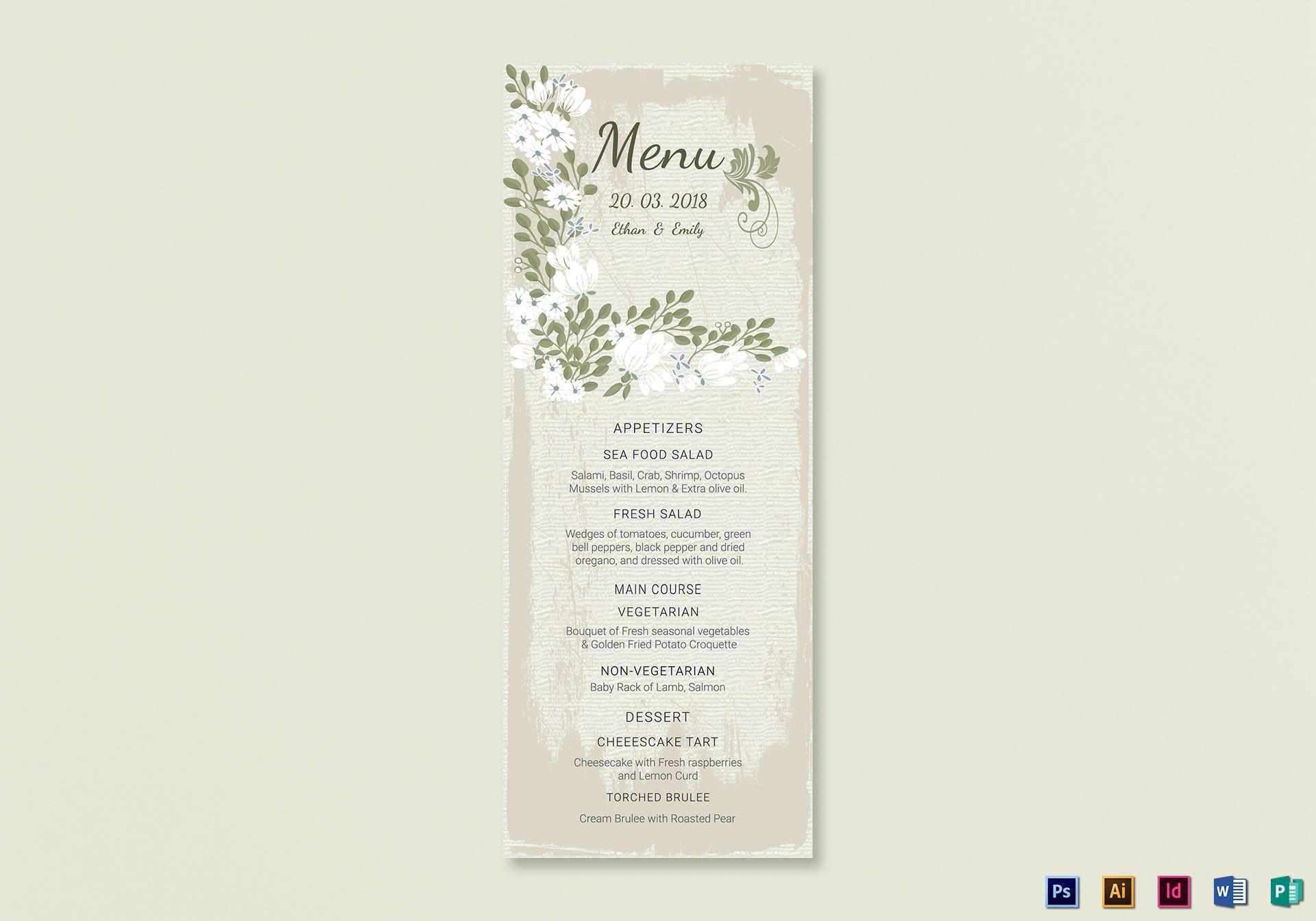 006 Fantastic Wedding Menu Card Template Word High Resolution Full