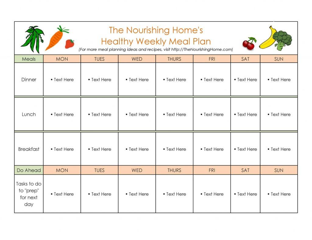 006 Fantastic Weekly Meal Plan Example Sample  Examples 1 Week Template OneLarge
